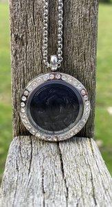 Strass medaillon memory locket kristal.